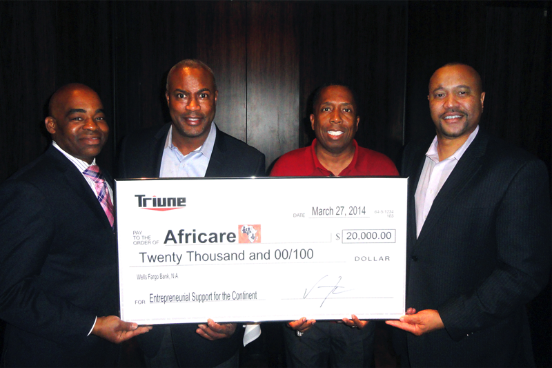 "Triune donates $20,000.00 to Africare on March 27, 2014.  For more than 40 years Africare (www.africare.com ) has been on a mission to improve the quality of life for the indigenous people of Africa. Africare is a Non-Profit 5013c committed to addressing poverty and hunger through building better communities.   Vince Fudzie Managing Member of Triune along with TV / Radio personality Gary with the ""T"", Lloyd Facen and Daryl Wallace are presenting the check."